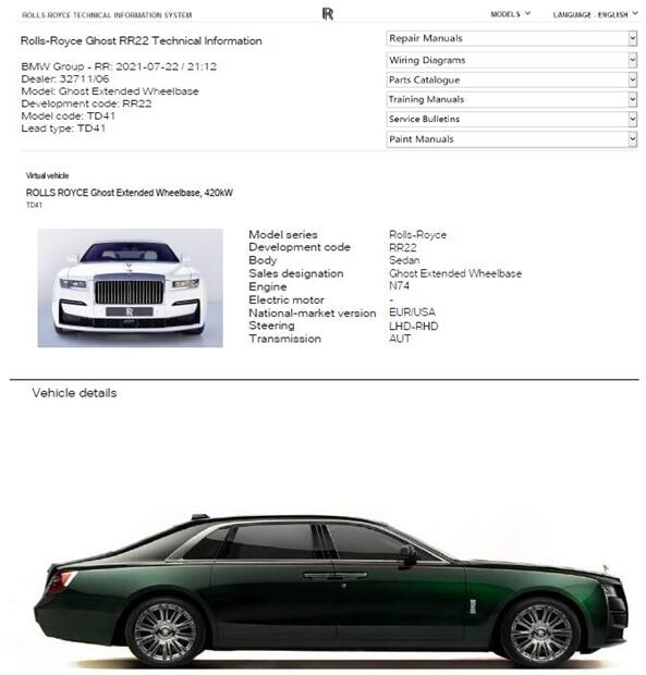 2021 2023 Rolls Royce Ghost Extended